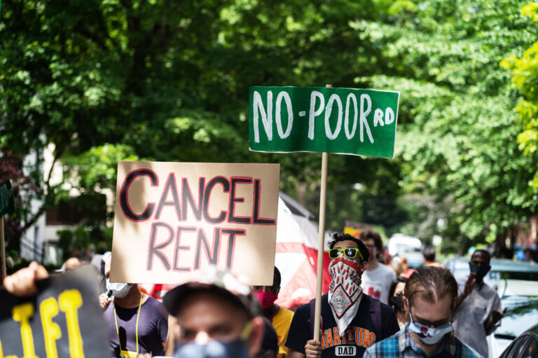 Demonstrators march for housing justice in the Old Town neighborhood in Chicago, IL on June 30, 2020, demanding a lift on the Illinois rent control ban and a cancellation of rent and mortgage payments during the COVID-19 pandemic. (Photo by Max Herman/NurPhoto via Getty Images)