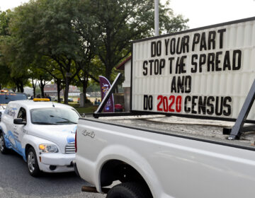 A sign on the back of a truck promotes 2020 census participation in Reading, Pa. A day after the Census Bureau announced a new