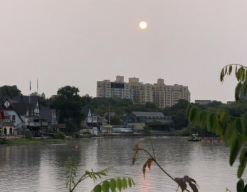 A haze of high-atmosphere smoke obscured the sun over Boathouse Row on Sept. 16. (Courtesy of Brit Miller)