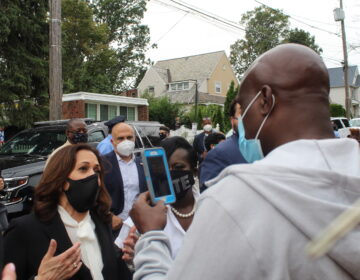 Kamala Harris speaking with Solomon Jones during a visit to Philadelphia on Thursday. (Courtesy of Solomon Jones III)