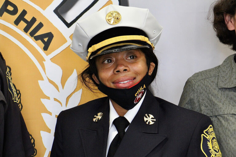 The Philadelphia Fire Department's first Black woman Battalion Chief Lisa Forrest, after her swearing in ceremony. (Emma Lee/WHYY)