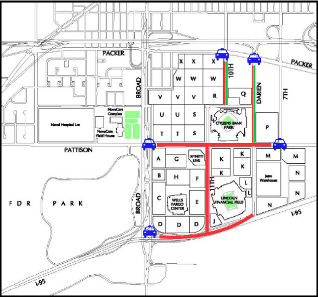 An illustration shows street closures that will be in place for Eagles home game this season
