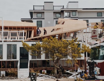 The scene of a partial house collapse in the Brant Beach section of Long Beach Township Thursday. (Courtesy of the Ship Bottom Volunteer Fire Company)