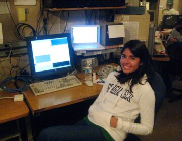 Nicole Cabrera Salazar at the University of Hawaii 2.2-meter telescope on Mauna Kea, Hawaii in 2008.