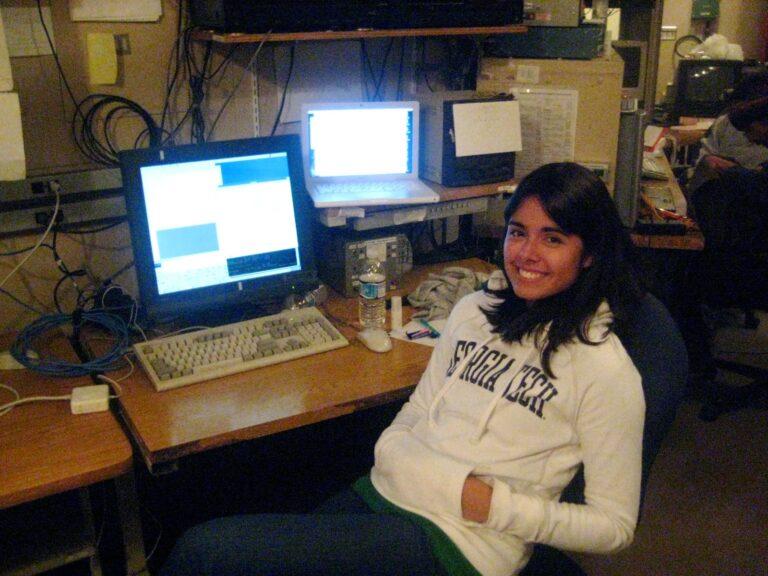 Nicole Cabrera Salazar at the University of Hawaii 2.2-meter telescope on Mauna Kea, Hawaii in 2008.