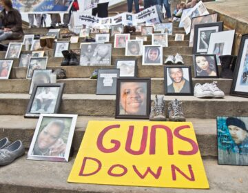 An anti-gun violence rally, held on the steps of the Philadelphia Art Museum in June 2018, featured a display by Kensington activist Rosalind Pichardo. (Kimberly Paynter/WHYY)