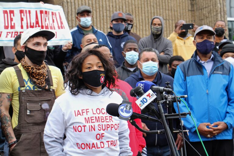 Lisa Forrest, Philadelphia's Fire Department Battalion Chief, joins other members of the firefighters and paramedics union in denouncing the local's endorsement of Donald Trump and calling for a retraction. (Emma Lee/WHYY)