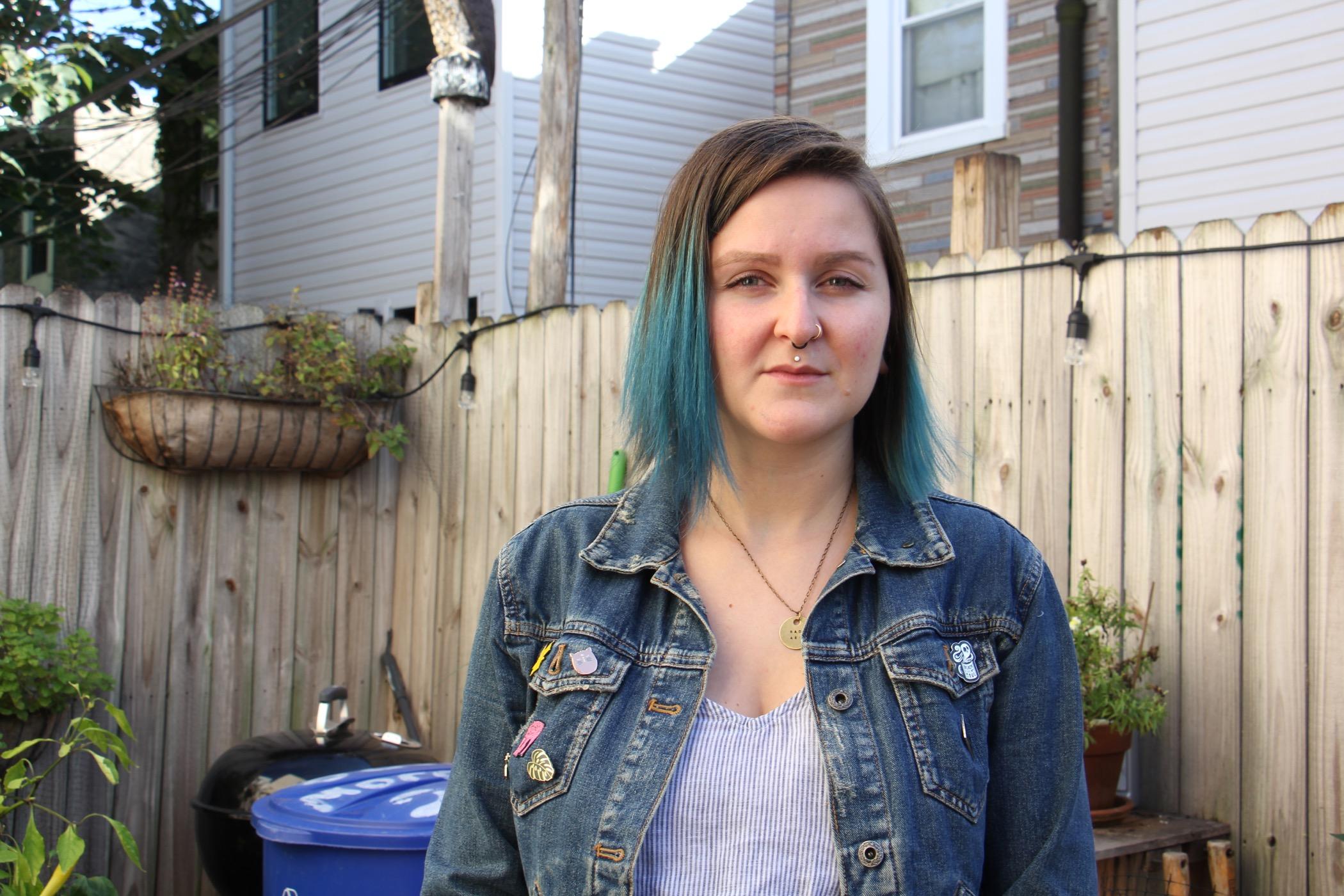 Melissa Durko outside her South Philadelphia rowhouse