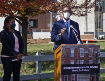City Council President Darrell Clarke announced the Neighborhood Preservation Initiative in Philadelphia's South Kensington neighborhood.