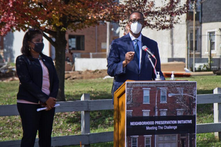 City Council President Darrell Clarke announced the Neighborhood Preservation Initiative in Philadelphia's South Kensington neighborhood.