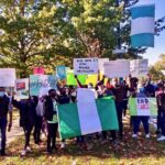 Philly Nigerian Professionals held a solidarity protest on Benjamin Franklin Parkway in Philadelphia on Oct. 17, 2020, to draw attention to ongoing extrajudicial killings in Nigeria. (Courtesy of Chioma Azi)