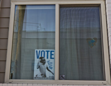 A vote poster in a East Kensington window