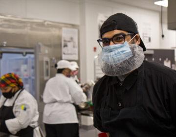 Samir Hernandez is a former student, now instructor, at the Philabundance Community Kitchen. (Kimberly Paynter/WHYY)