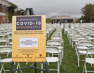 COVID Survivors for Change set up 866 chairs on Independence Mall in Philadelphia to represent the lives of over 8,660 Pennsylvanians lost to COVID-19. (Kimberly Paynter/WHYY)