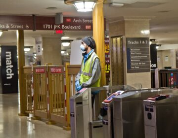 Regional rail stations were nearly empty in the wake of the coronavirus shutdown. (Kimberly Paynter/WHYY