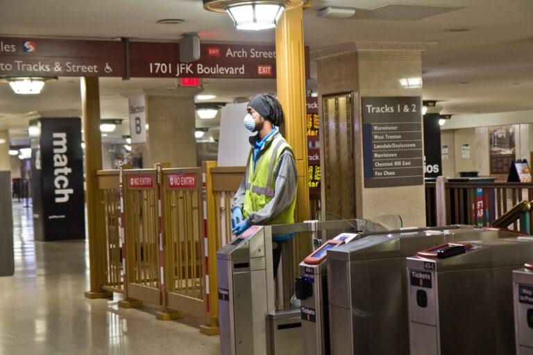 Regional rail stations were nearly empty in the wake of the coronavirus shutdown. (Kimberly Paynter/WHYY