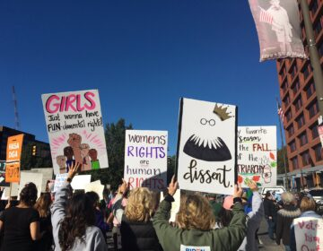 Signs reflect the sentiments of the crowd at Saturday's We Dissent women's march in Philadelphia. (Katie Meyer/WHYY)