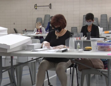 Election workers in Union County sorted mail-in ballots on the day of primary elections, July 7, 2020. (NJ Spotlight)