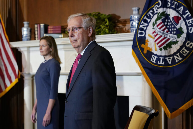 Senate Majority Leader Mitch McConnell of Ky., meets with Supreme Court nominee Judge Amy Coney Barrett on Capitol Hill in Washington, Tuesday, Sept. 29, 2020. (AP Photo/Susan Walsh)