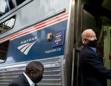 Democratic presidential candidate former Vice President Joe Biden boards his train at Amtrak's Pittsburgh Train Station, Wednesday, Sept. 30, 2020, in Pittsburgh. Biden is on a train tour through Ohio and Pennsylvania today. (AP Photo/Andrew Harnik)
