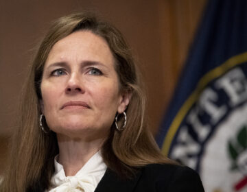Supreme Court nominee Judge Amy Coney Barrett on Thursday, Oct. 1, 2020, at the Capitol in Washington.   (Caroline Brehman/Pool via AP)