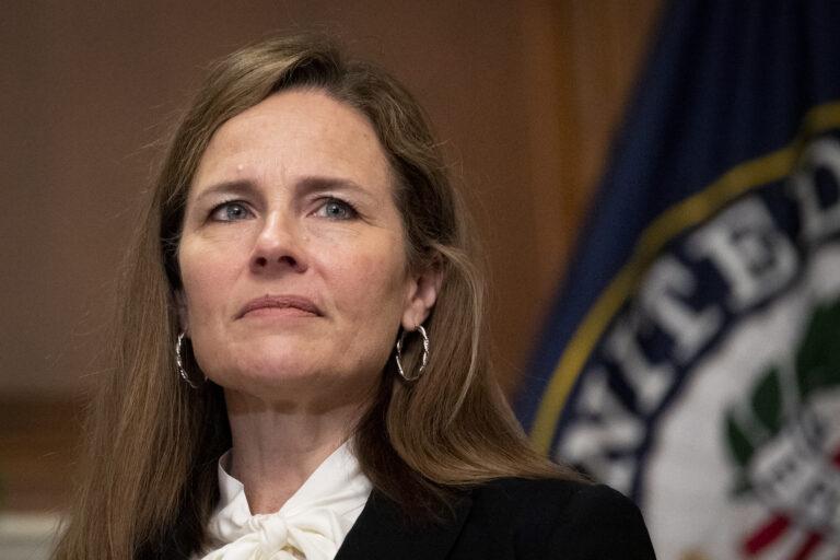 Supreme Court nominee Judge Amy Coney Barrett on Thursday, Oct. 1, 2020, at the Capitol in Washington.   (Caroline Brehman/Pool via AP)