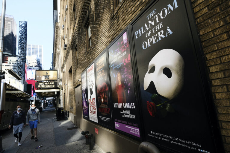 Broadway posters outside the Richard Rodgers Theatre in New York on May 13, 2020. (Photo by Evan Agostini/Invision/AP)