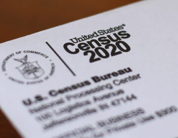 This April 5, 2020, file photo shows an envelope containing a 2020 census letter mailed to a U.S. resident in Detroit. (AP Photo/Paul Sancya, File)