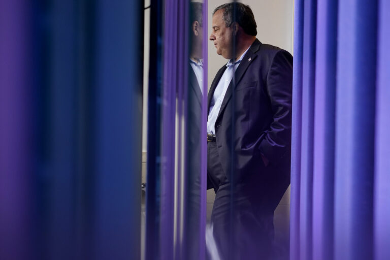 In this Sept. 27, 2020, file photo former New Jersey Gov. Chris Christie, arrives for a news conference at the White House in Washington, with President Donald Trump. (AP Photo/Carolyn Kaster)