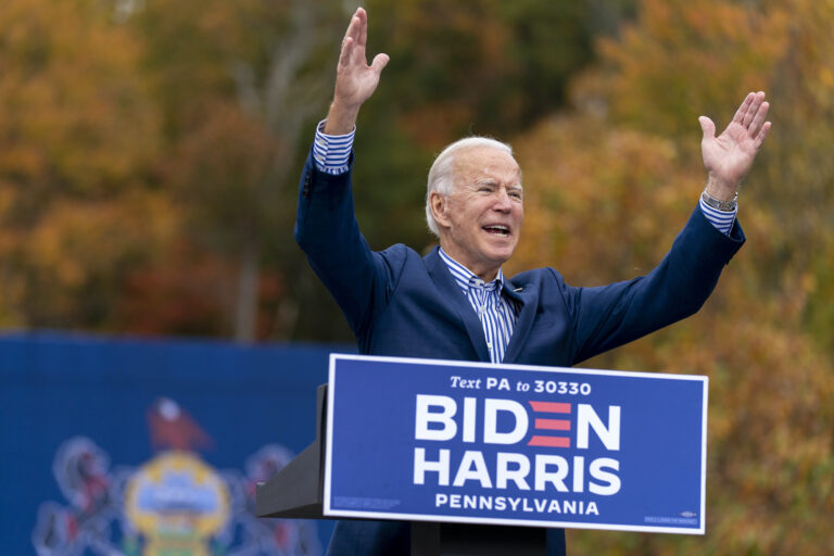 Democratic presidential candidate former Vice President Joe Biden speaks at a drive-in campaign stop at Bucks County Community College in Bristol, Pa., Saturday, Oct. 24, 2020. (AP Photo/Andrew Harnik)