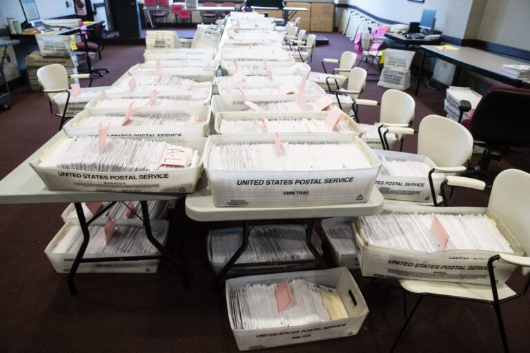 Processed mail-in ballots are seen at the Chester County Voter Services office in West Chester, Pa., prior to the primary election, Thursday, May 28, 2020. (Matt Rourke/AP Photo)