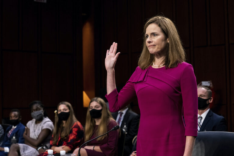 Supreme Court nominee Amy Coney Barrett is sworn in during her Senate Judiciary Committee confirmation hearing