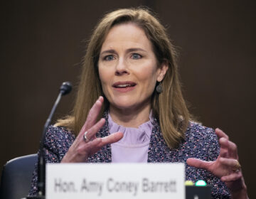 Supreme Court nominee Amy Coney Barrett speaks during a confirmation hearing before the Senate Judiciary Committee