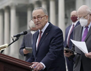 Senate Minority Leader Chuck Schumer speaks to reporters