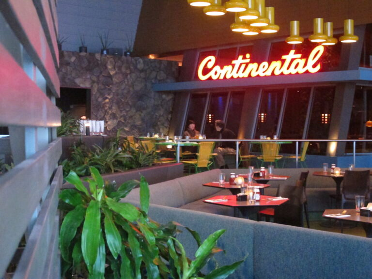 Two people eat in an otherwise empty Continental restaurant in Atlantic City