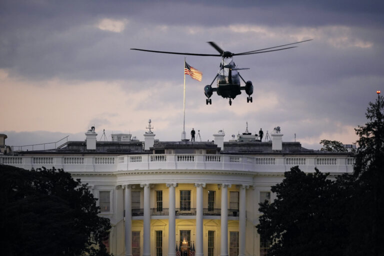 President Donald Trump arrives back at the White House aboard Marine One