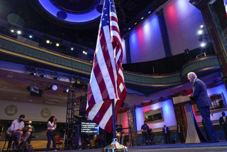 Joe Biden gives a speech at The Queen Theater