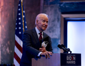 Joe Biden gives a speech at The Queen Theater in Wilmington
