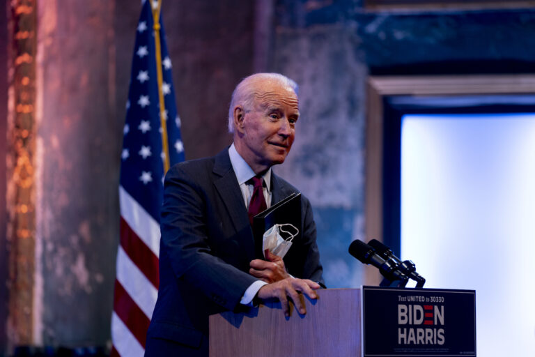 Joe Biden gives a speech at The Queen Theater in Wilmington