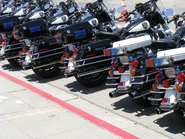 A line of police motorcycles