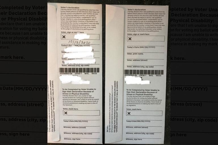 Bucks county voter Stephen Klein's double ballot. (Courtesy of Stephen Klein)