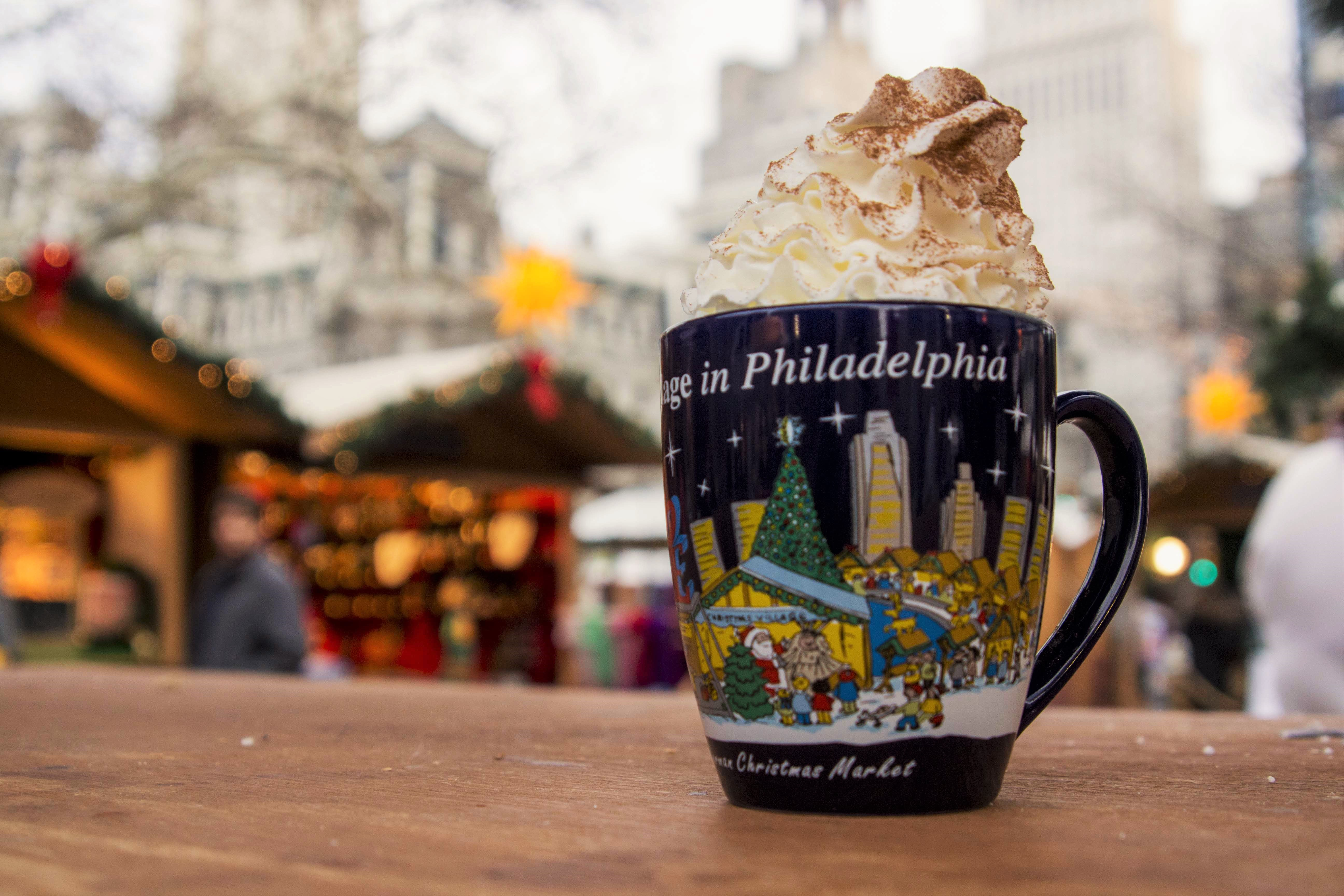 A cup of hot cocoa is pictured at Christmas Village.