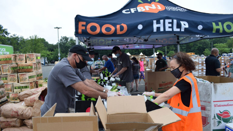 A Community FoodBank of New Jersey distribution event during the coronavirus pandemic