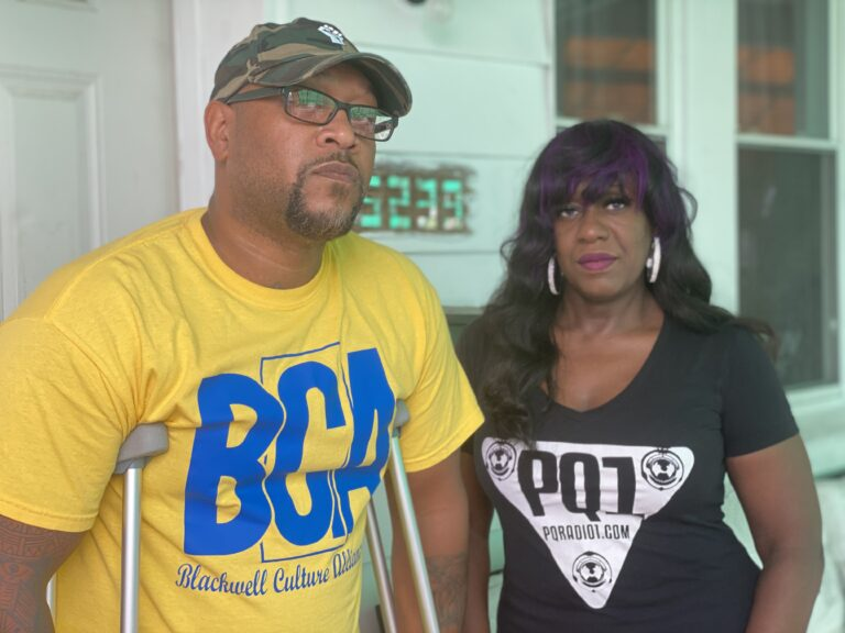 Tommy and Saj Blackwell at their West Philadelphia home. (Chris Norris/WHYY)