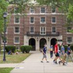 Students wearing masks on Penn State's University Park campus. (Min Xian/WPSU)