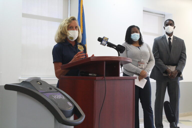 DOC Commissioner Claire DeMatteis talks about the state's effort to fight both COVID-19 and the flu in the Delaware's prisons over the next few months. (Mark Eichmann/WHYY)