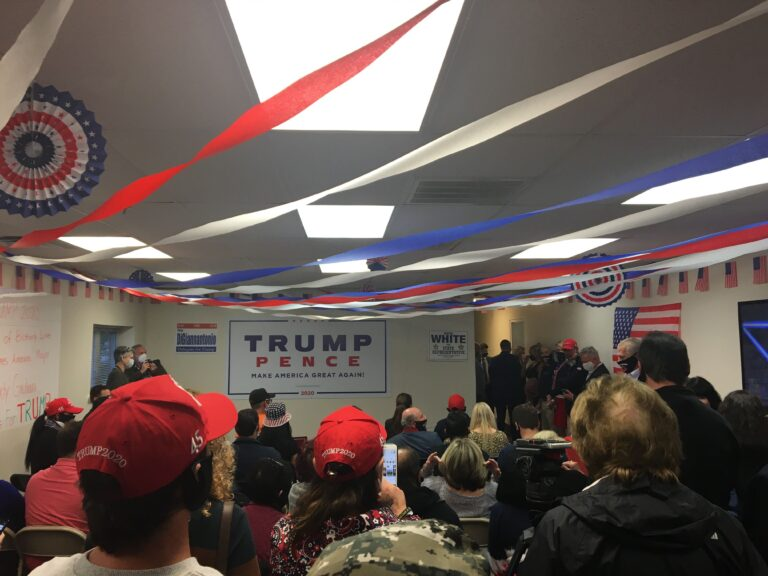 Dozens of Trump supporters packed into a cramped conference room to hear Rudy Giuliani's Columbus Day remarks in Philadelphia. (Katie Meyer / WHYY)