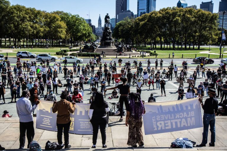 Black Lives Matter protesters gathered on the steps of the Art Museum Saturday to hear from organizers of Black radical groups. (Kimberly Paynter/WHYY)