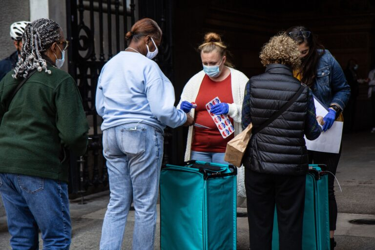 "Voters exchange ballots for ""I Voted Today"" stickers at City Hall in Philadelphia. (Kimberly Paynter/WHYY)"
