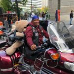 Aaron Atchison of South Jersey attended a motorcycle rally at City Hall to encourage voter turnout. (Miles Bryan/WHYY)